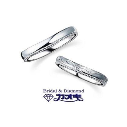 【カオキ ダイヤモンド専門卸直営店】ミルうちしっかりリング。ツヤありなしも選べて女性らしいリボン模様もつけれます!