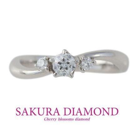 【GemmeoMyM(ジェンメオミィム)】Pt900 さくらダイヤモンド セットリング