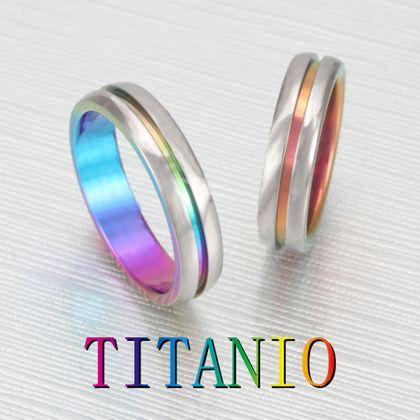 【CUORITA(クオリタ)】TITANIO No.10 チタングラデーションの甲丸マリッジリング