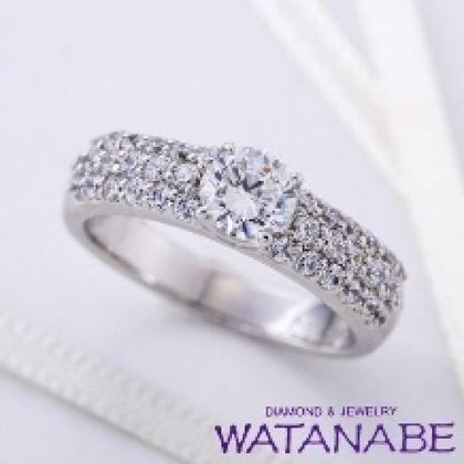 【WATANABE / 卸商社直営 渡辺】[WATANABE]メレダイヤを惜しげもなく敷き詰めたパヴェ エンゲージリング