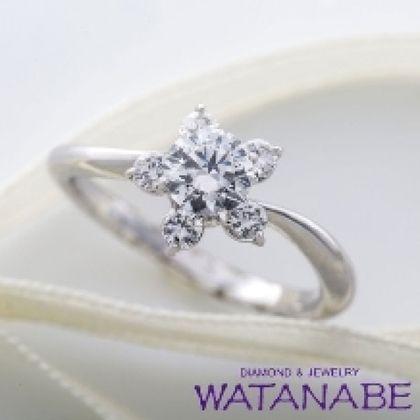 【WATANABE / 卸商社直営 渡辺】[WATANABE]可憐な花モチーフのエンゲージリング