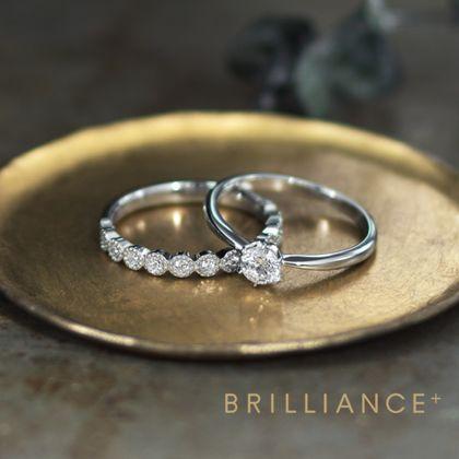 【BRILLIANCE+(ブリリアンスプラス)】PT950 ドット ダイヤモンド ハーフエタニティ リング ミルグレイン & PT900 スカイ ソリティア リング 0.3ct