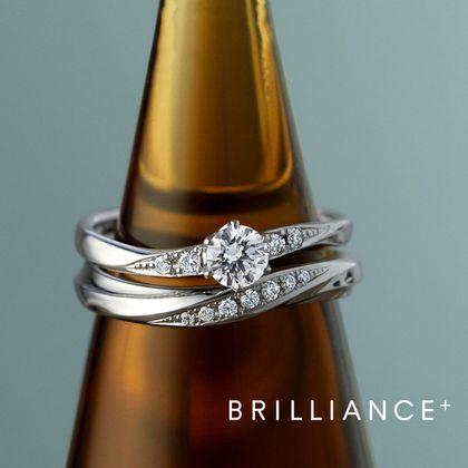 【BRILLIANCE+(ブリリアンスプラス)】PT900 バルケット ダイヤモンド サイドストーン リング & PT950 アソルティ ダイヤモンド リング エングレーブ