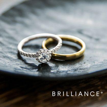 【BRILLIANCE+(ブリリアンスプラス)】PT900 ヘイロー リース ダイヤモンド エタニティタイプ リング & K18YG ストレートオーバルヴィンテージ