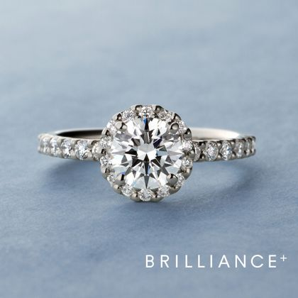 【BRILLIANCE+(ブリリアンスプラス)】PT900 ヘイロー リース ダイヤモンド エタニティタイプ リング 0.3ct