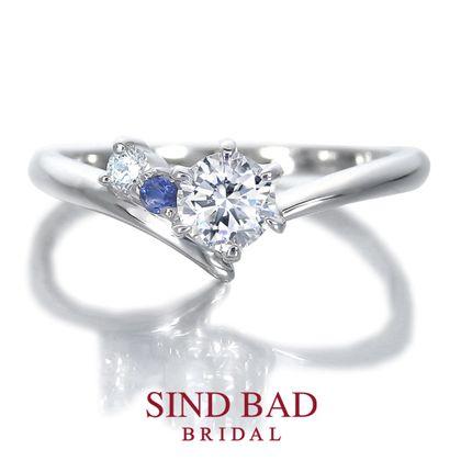 【SIND BAD(シンドバット)】婚約指輪【夏銀河(なつぎんが)】寄り添う織姫と彦星 【二人の誕生石をセット】【4月誕生石ダイヤモンド・9月誕生石サファイア】