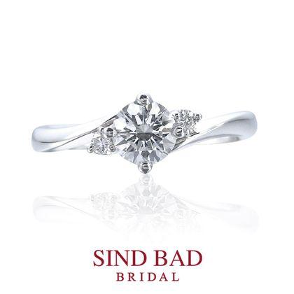 【SIND BAD(シンドバット)】婚約指輪【深海 みお】二つのメレダイヤがやさしく寄り添う