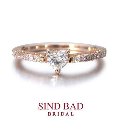 【SIND BAD(シンドバット)】婚約指輪 ハートシェイプ ピンクゴールドのエンゲージリング