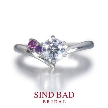 【SIND BAD(シンドバット)】婚約指輪【夏銀河(なつぎんが)】寄り添う織姫と彦星 【二人の誕生石をセット】【2月誕生石アメジスト・1月誕生石ガーネット】