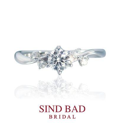 【SIND BAD(シンドバット)】婚約指輪【真珠星  スピカ】 春の夜空に煌めく五連星