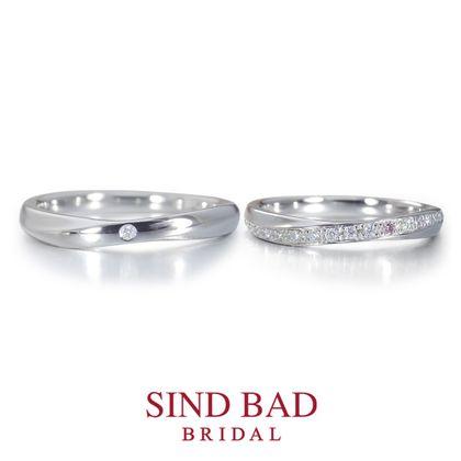 【SIND BAD(シンドバット)】結婚指輪【月虹(げっこう)】夜の月明かりから生まれた約束のしるし ピンクダイヤモンド ・ダイヤモンド