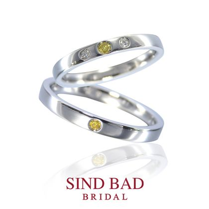 【SIND BAD(シンドバット)】結婚指輪【鏡花 きょうか】イエローダイヤモンドをアレンジ