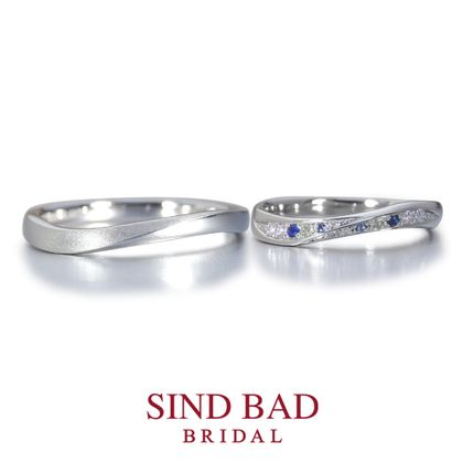 【SIND BAD(シンドバット)】結婚指輪【汐陽 しおひなた】サファイア、ペリドット等色石をアレンジ