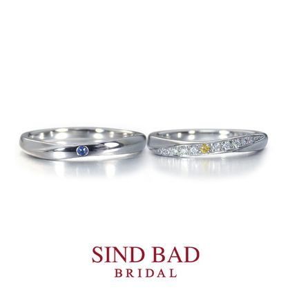 【SIND BAD(シンドバット)】結婚指輪【月虹(げっこう)】夜の月明かりから生まれた約束のしるし イエローダイヤモンド サファイア