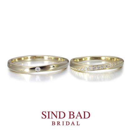 【SIND BAD(シンドバット)】 結婚指輪【月虹(げっこう)】夜の月明かりから生まれた約束のしるし イエローゴールド