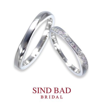 【SIND BAD(シンドバット)】結婚指輪【月虹(げっこう)】夜の月明かりから生まれた約束のしるし ピンクダイヤモンド