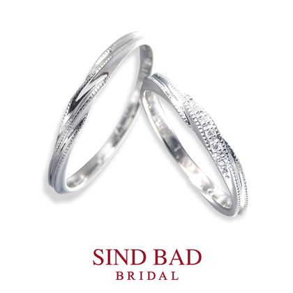 【SIND BAD(シンドバット)】プラチナ結婚指輪【2本10万円以内】ダイヤ5石・ミルグレイン