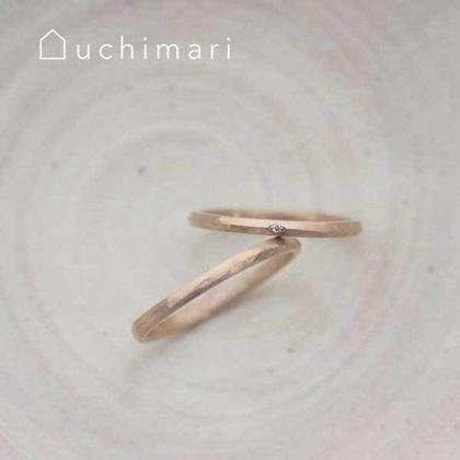 【uchimari(ウチマリ)】ピンクゴールドのマリッジリング