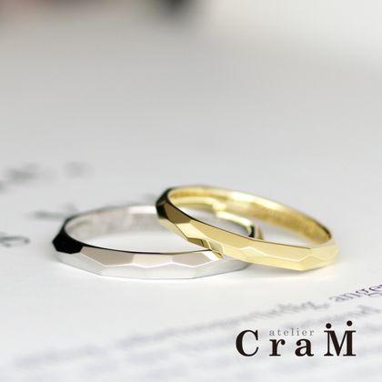 【atelier CraM(アトリエ クラム)】存在感抜群!パッと目を引く魅惑のカットデザインマリッジリング/Tutime Figure(鎚目 フィガー)【カスタムオーダー】