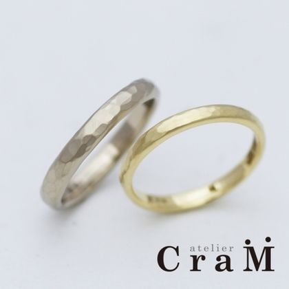 【atelier CraM(アトリエ クラム)】■お家で手作り■鎚目のゴールドリング【オーダーメイドもOK!】
