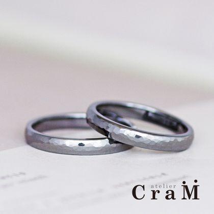 【atelier CraM(アトリエ クラム)】金属アレルギー対応|タンタル製、鎚目のマリッジリング【オーダーメイド】
