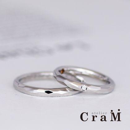 【atelier CraM(アトリエ クラム)】プラチナのカットデザインマリッジリング【フルオーダー】