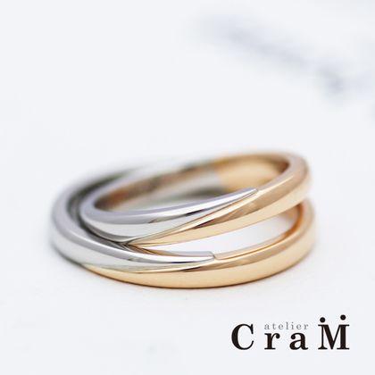 【atelier CraM(アトリエ クラム)】プラチナとピンクゴールドのコンビリング【手作り】