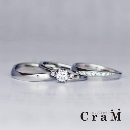 【atelier CraM(アトリエ クラム)】金属アレルギー対応|サージカルステンレスのウェーブセットリング【手作り/オーダーメイド】