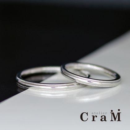 【atelier CraM(アトリエ クラム)】Mirugureinn Round(ミルグレイン ラウンド)/ 華奢なアンティーク調のラウンドマリッジリング【セミオーダー】