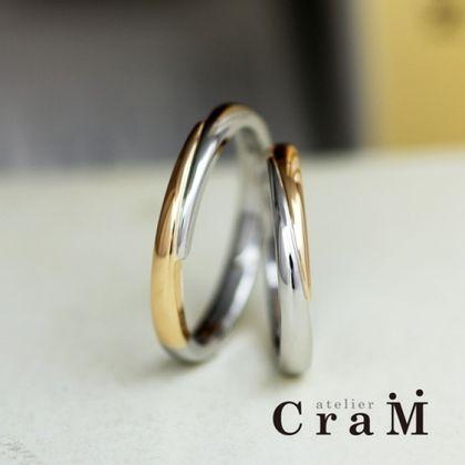 【atelier CraM(アトリエ クラム)】ななめコンビの甲丸マリッジリング【無料体験付きだから初めての手作りも安心♪】