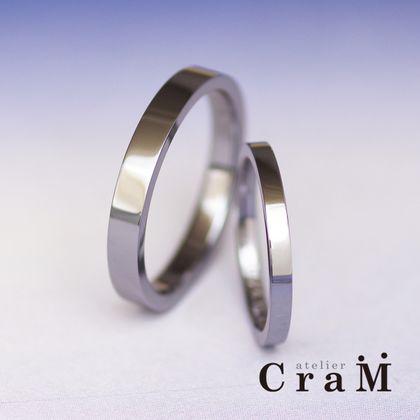 【atelier CraM(アトリエ クラム)】金属アレルギー対応 スクエアタイプのタンタルマリッジリング【オーダーメイド】