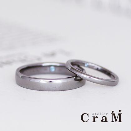 【atelier CraM(アトリエ クラム)】金属アレルギー対応|タンタル製、甲丸のマリッジリング【フルオーダー】