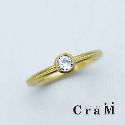【atelier CraM(アトリエ クラム)】ミルグレインが施されたアンティーク調のエンゲージリング【オーダーメイド婚約指輪】