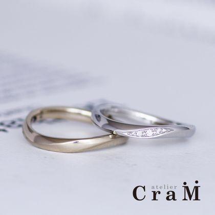 【atelier CraM(アトリエ クラム)】シンプルウェーブひねりのマリッジリング【フルオーダー】