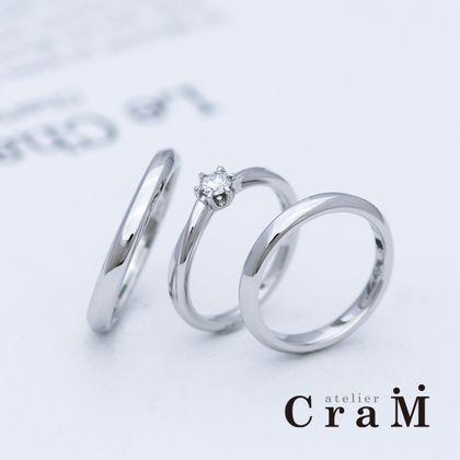 【atelier CraM(アトリエ クラム)】なめらかツイストデザインのプラチナセットリング【手作り】