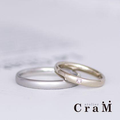 【atelier CraM(アトリエ クラム)】2粒で1ペアダイヤのシンプルマリッジリング【フルオーダー】