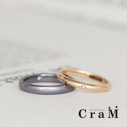 【atelier CraM(アトリエ クラム)】タンタルとゴールドのシンプルマリッジリング【フルオーダー】