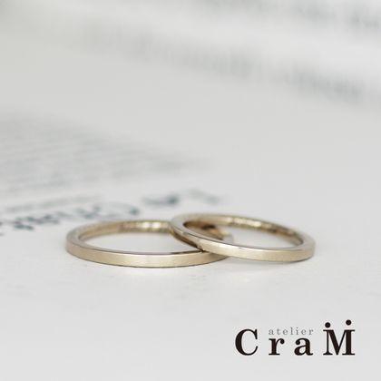 【atelier CraM(アトリエ クラム)】細身シンプルなブラウンゴールドマリッジリング / Square(スクエア)【セミオーダー】