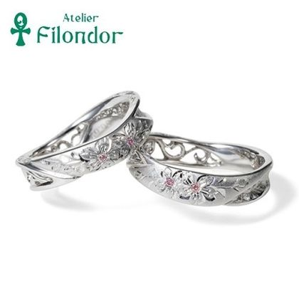 【アトリエフィロンドール】【アトリエ・フィロンドール】MIORING 和彫りと透かし&和紙が祝福する結婚指輪 匠花Ⅰ桜 -しょうか-