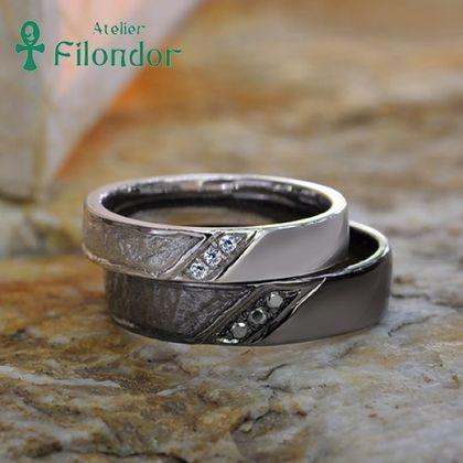【アトリエフィロンドール】【アトリエ・フィロンドール】MIORING 和紙とブラックの結婚指輪 葉漏陽-はもれび-