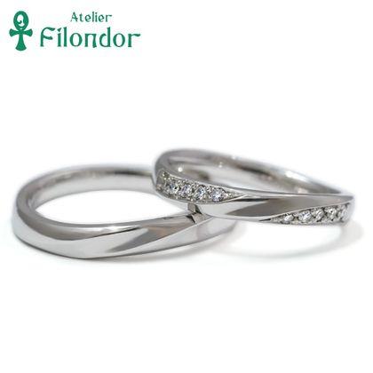 【アトリエフィロンドール】【アトリエ・フィロンドール】鍛造ウェーブダイアモンド結婚指輪