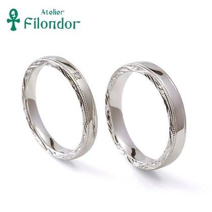 【アトリエフィロンドール】【アトリエ・フィロンドール】MIORING 側面の和彫り彫刻がさりげなく煌めく鍛造結婚指輪 絲 -いと-