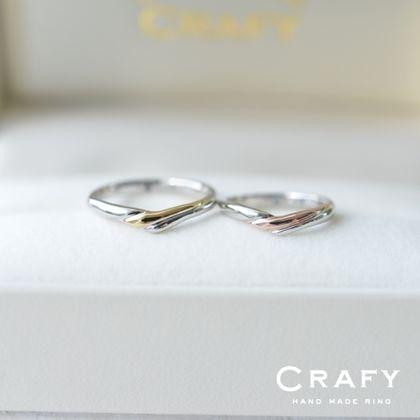 【CRAFY(クラフィ)】☆ふたりで作る☆結婚指輪 PT900&K18PG、PT900&K18YG