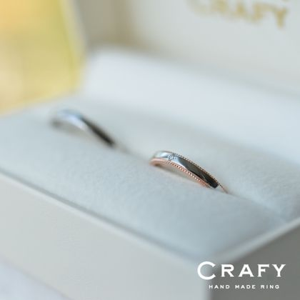 【CRAFY(クラフィ)】☆ふたりで作る☆結婚指輪 PT900、PT900&K18PG