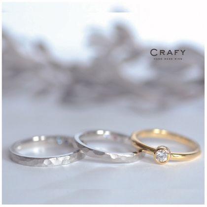 【CRAFY(クラフィ)】3本セットリング|結婚指輪PT900×婚約指輪K18YG