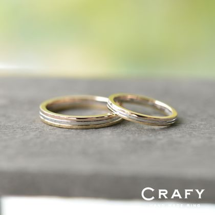 【CRAFY(クラフィ)】☆ふたりで作る☆結婚指輪 K18PG&PT900&K18YG