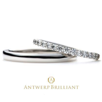 """【BRIDGE ANTWERP BRILLIANT GALLERY(ブリッジ・アントワープ・ブリリアント・ギャラリー)】""""D Line Star"""" Diamond Harf Eternity Wedding Band Ring """"ディーライン スター"""" ウエディングバンド"""