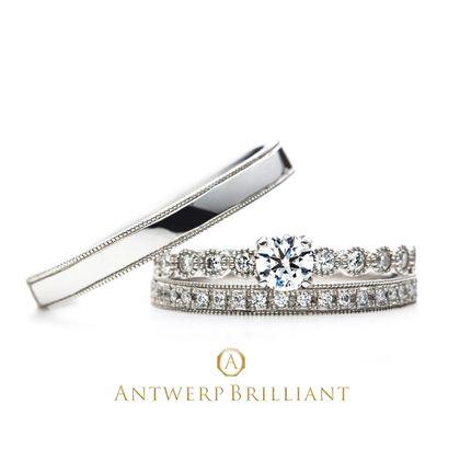 """【BRIDGE ANTWERP BRILLIANT GALLERY(ブリッジ・アントワープ・ブリリアント・ギャラリー)】""""D-Line Star Classic"""" Millgrain Diamond Line Ring Set """"ディー ライン クラシック"""" ミルグレイン ダイヤモンド ライン リング"""