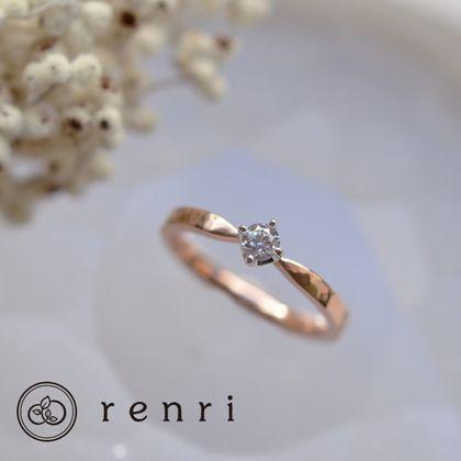 【renri(レンリ)】【手作り・オーダーメイド】あたたかみのある、ハンマーテクスチャーのエンゲージリング
