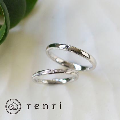 【renri(レンリ)】【手作り・オーダーメイド】ミル打ちのラインがクラシカルな、プラチナリング